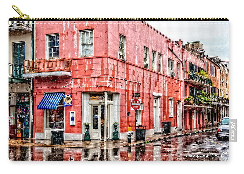 Rain Carry-all Pouch featuring the photograph Rainy Corner by Christopher Holmes