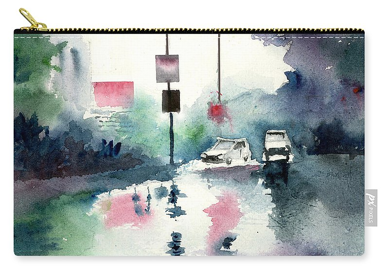Nature Carry-all Pouch featuring the painting Rainy Day by Anil Nene