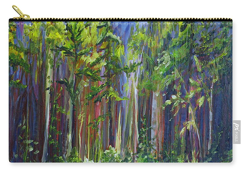 Forest Carry-all Pouch featuring the painting Rainy Day At Nutimik Lake by Joanne Smoley