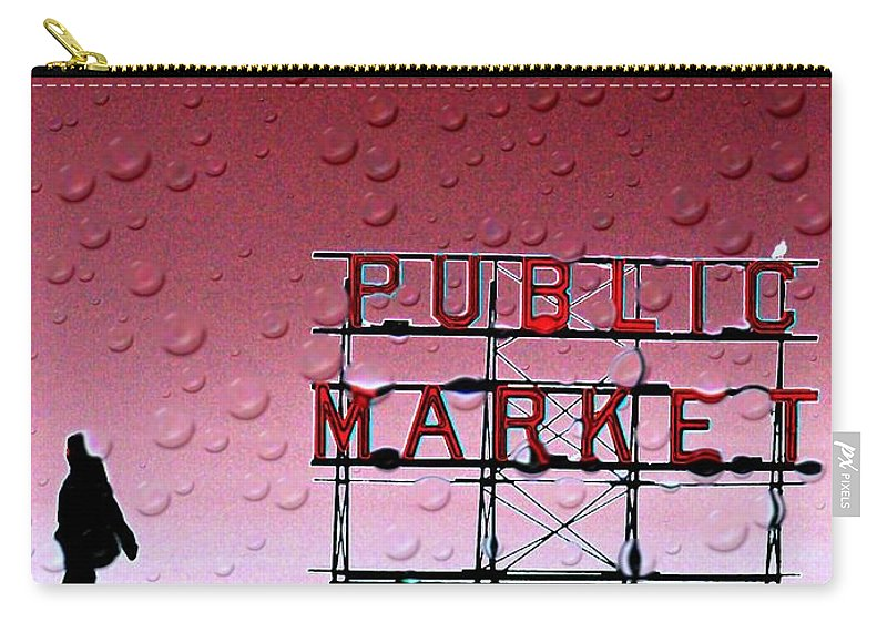 Seattle Carry-all Pouch featuring the photograph Rainy Day At The Market by Tim Allen