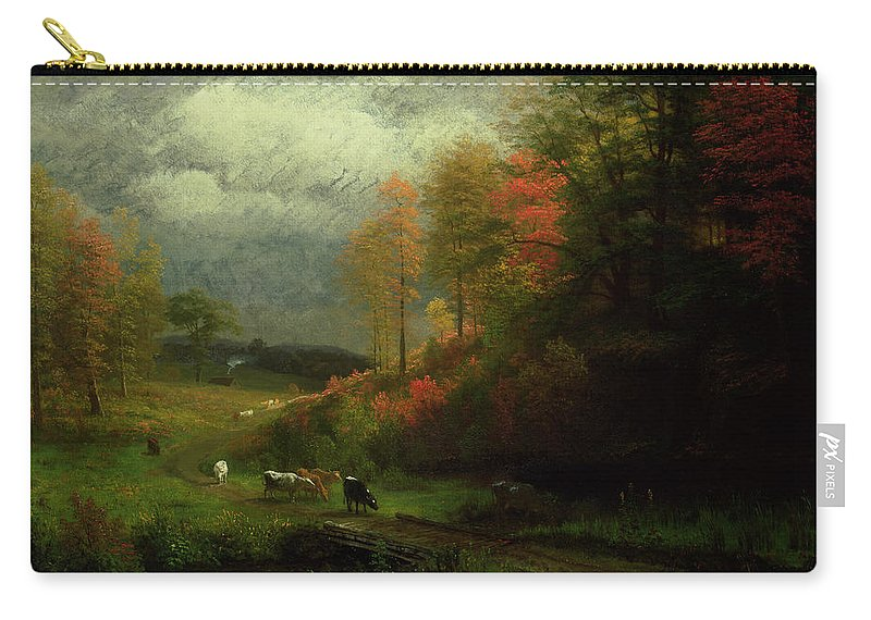 New England; East Coast; America; American Landscape; Trees; Leaves; Rural; Countryside; Forest; Rain; Cattle; Cottage; Picturesque; Hudson River School; Autumn; Autumnal; Fall Carry-all Pouch featuring the painting Rainy Day In Autumn by Albert Bierstadt