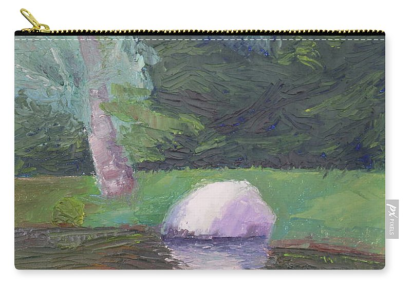 Landscape Painting Carry-all Pouch featuring the painting Rainy Day by Lea Novak