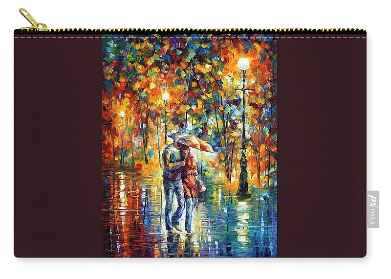Afremov Carry-all Pouch featuring the painting Rainy Evening by Leonid Afremov