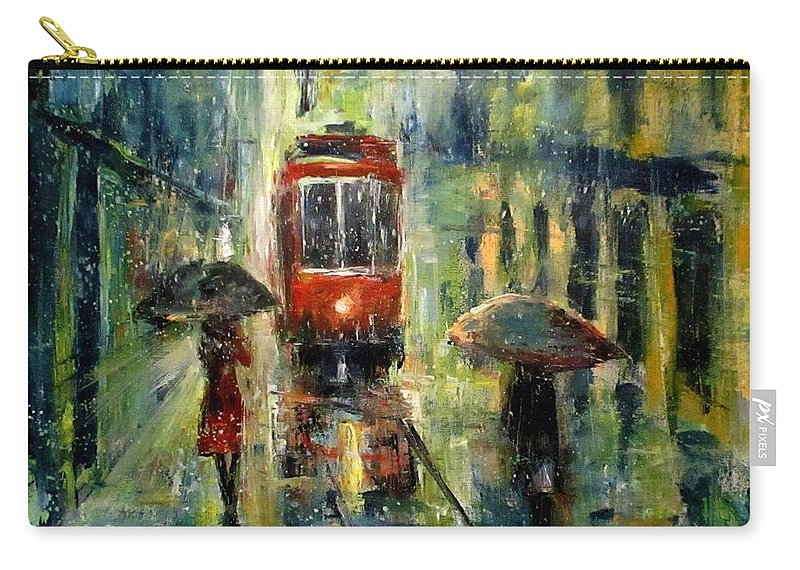 Landscape Carry-all Pouch featuring the painting Rainy Fantasy by Natalja Picugina