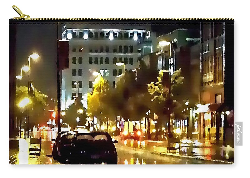 Lauren Radke Carry-all Pouch featuring the photograph Rainy Night In Green Bay by Lauren Radke