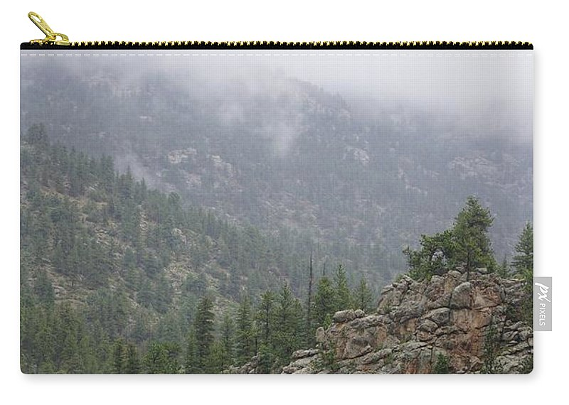 Carry-all Pouch featuring the photograph Rainy Rocky Mountain Day by Susan Brown