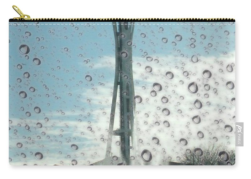 Seattle Carry-all Pouch featuring the photograph Rainy Window Needle by Tim Allen