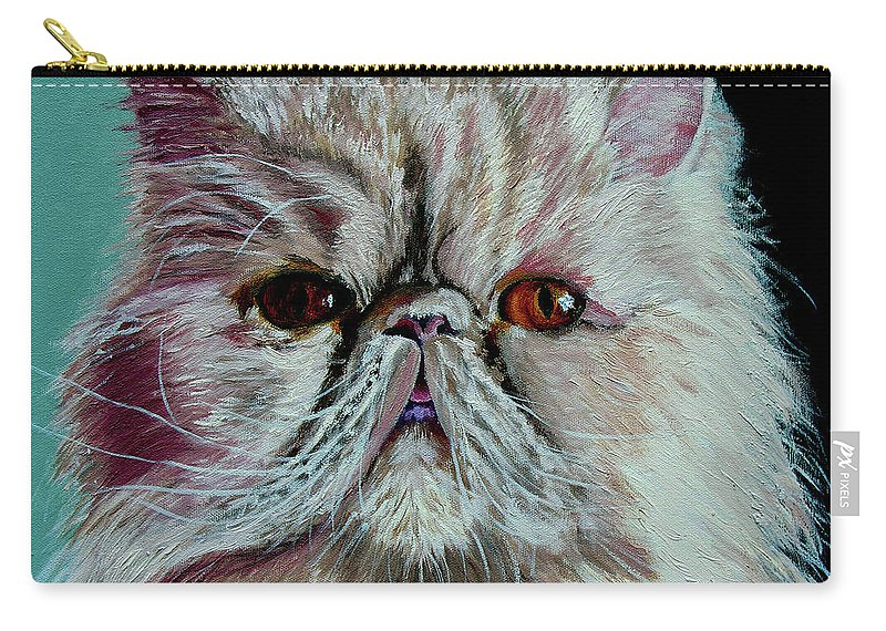 Cat Portrait Carry-all Pouch featuring the painting Ralph by Stan Hamilton