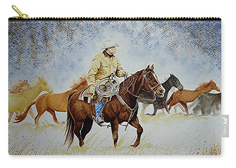 Art Carry-all Pouch featuring the painting Ranch Rider by Jimmy Smith