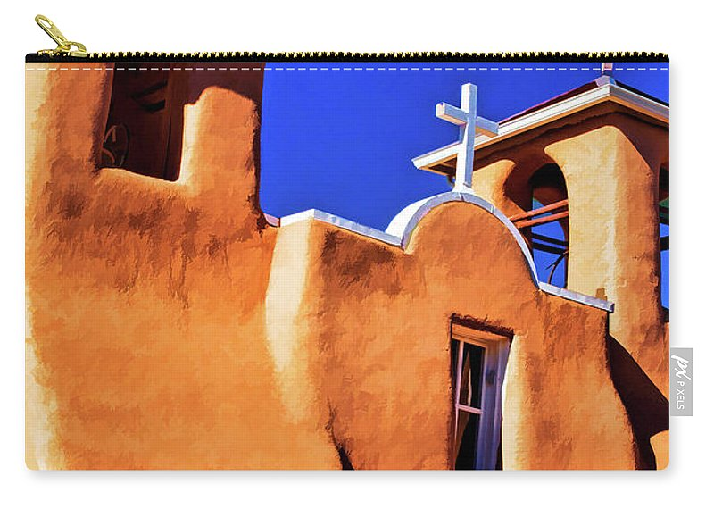 San Carry-all Pouch featuring the digital art Ranchos De Taos Church by Charles Muhle