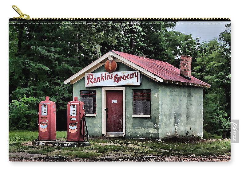 Watercolor Carry-all Pouch featuring the painting Rankins Grocery In Watercolor by Lynne Jenkins