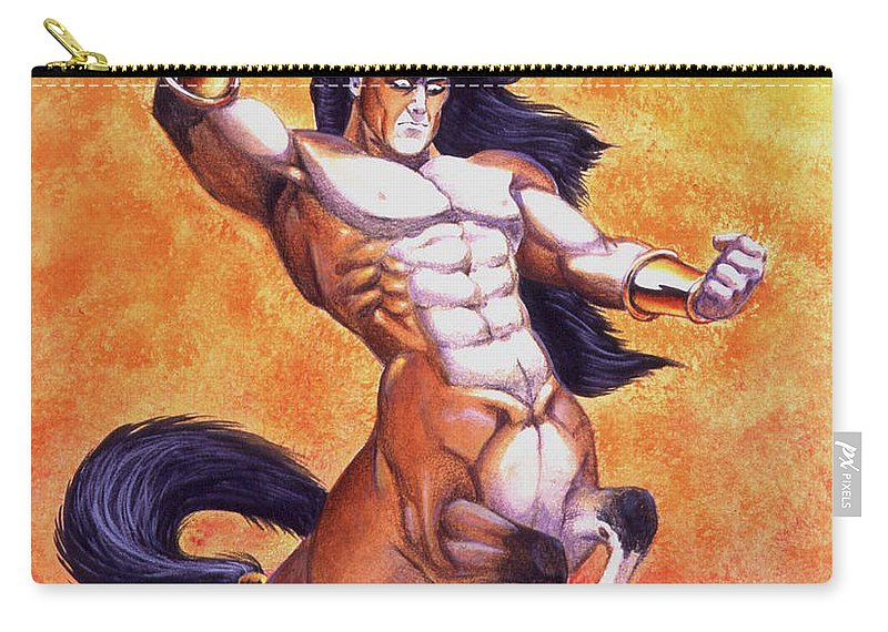 Centaur Carry-all Pouch featuring the painting Ranting Centaur by Melissa A Benson