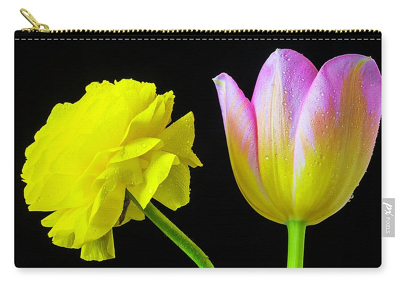 Green Carry-all Pouch featuring the photograph Ranunculus And Tulip by Garry Gay