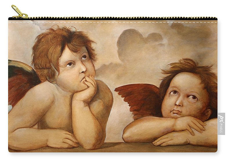 Religious Carry-all Pouch featuring the painting Raphael Angels by Darko Topalski