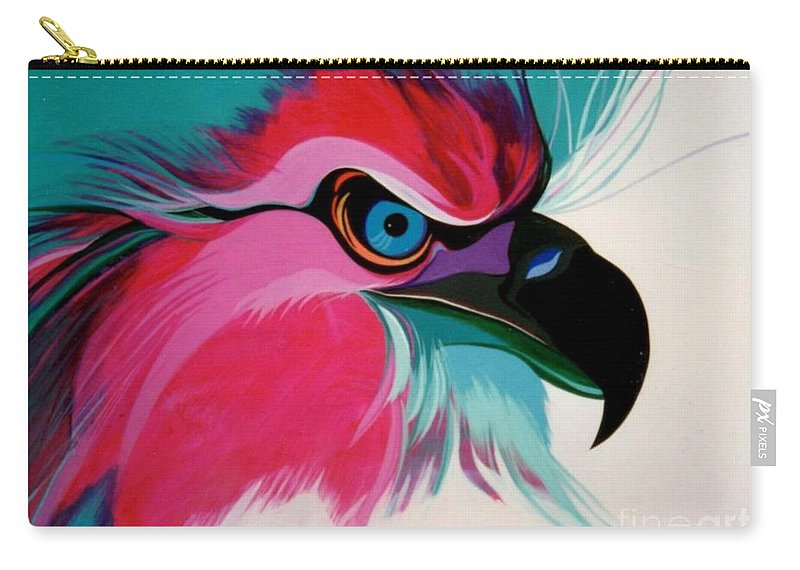Birds Carry-all Pouch featuring the painting Raptor Rapture by Marlene Burns