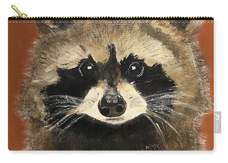 Racoon Carry-all Pouch featuring the painting Rascal by Kathi Schwan
