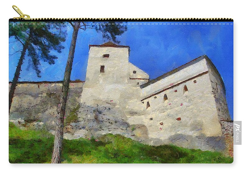 Fortress Carry-all Pouch featuring the painting Rasnov Fortress by Jeffrey Kolker