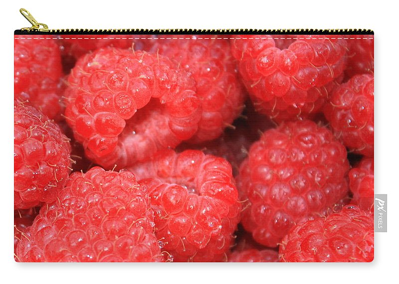 Food Carry-all Pouch featuring the photograph Raspberries Close-up by Carol Groenen