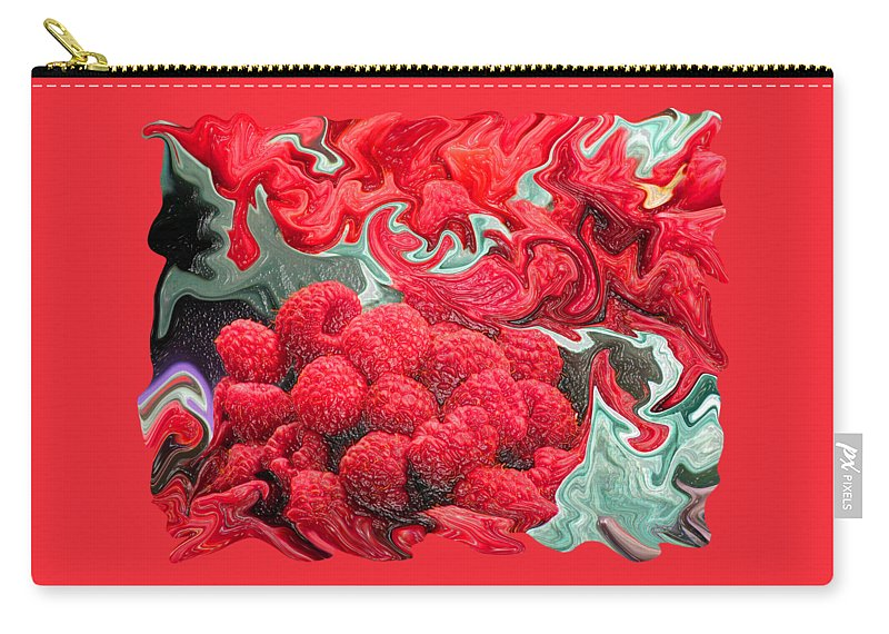 Art Photography Carry-all Pouch featuring the photograph Raspberries by Kathy Moll