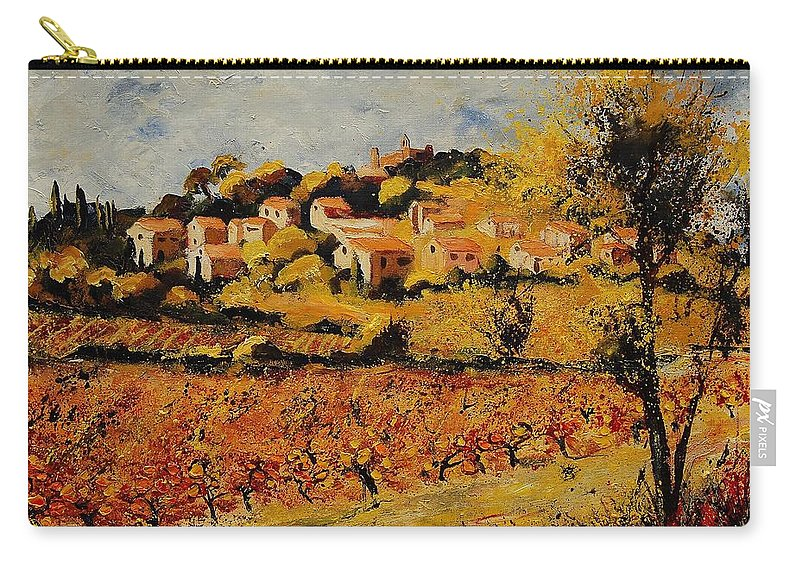 Provence Carry-all Pouch featuring the painting Rasteau Vaucluse by Pol Ledent