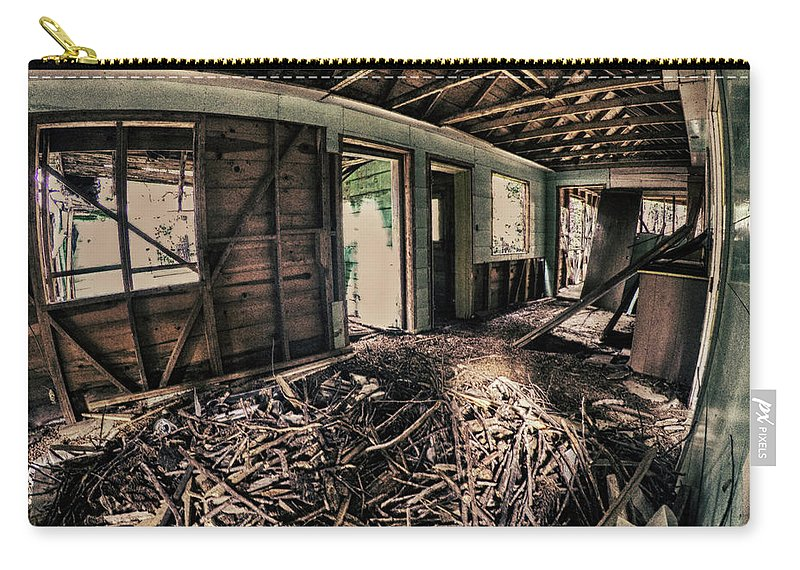 Dilapidated Carry-all Pouch featuring the photograph Rat Nest, Real Estate Series by Aaron James