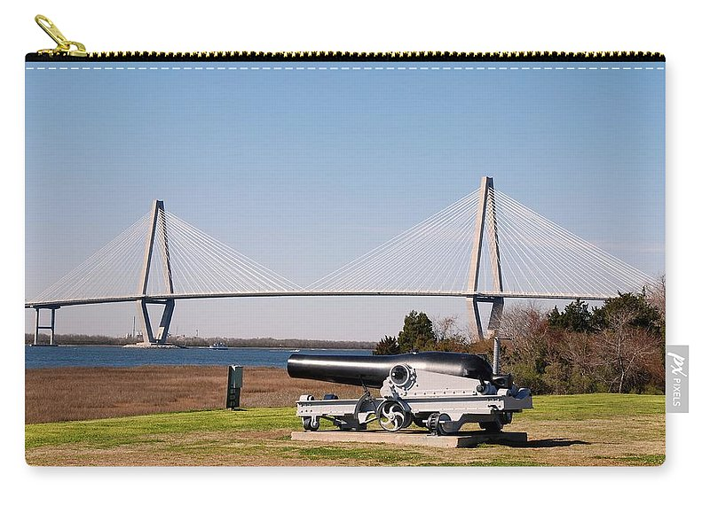 Photography Carry-all Pouch featuring the photograph Ravanel Bridge From The Patriot Point by Susanne Van Hulst