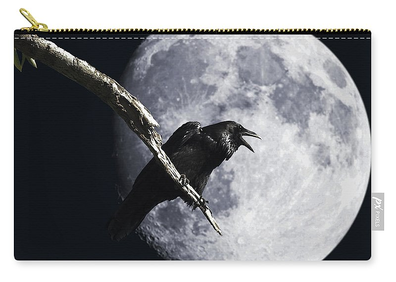 Wingsdomain Carry-all Pouch featuring the photograph Raven Barking At The Moon by Wingsdomain Art and Photography