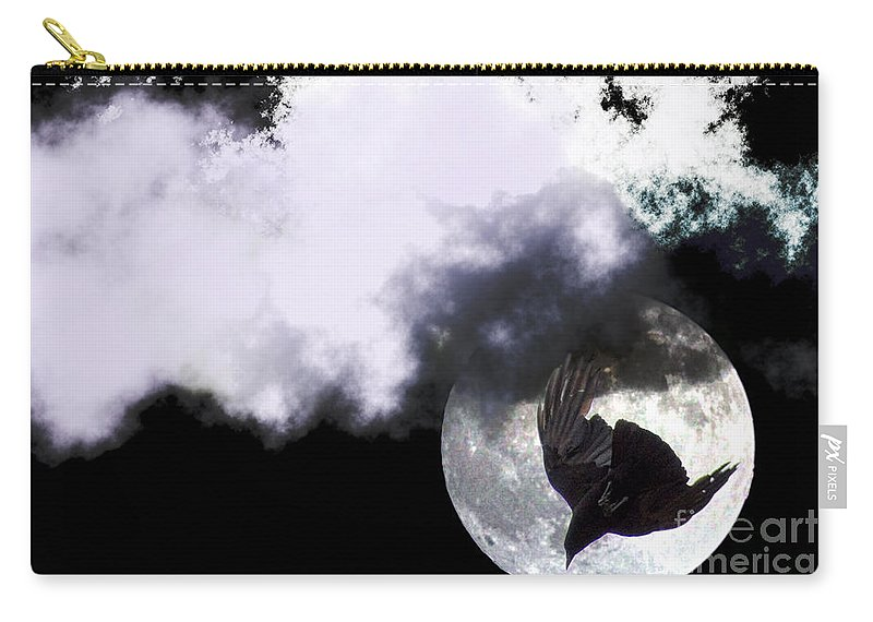 Clay Carry-all Pouch featuring the photograph Raven Moon by Clayton Bruster