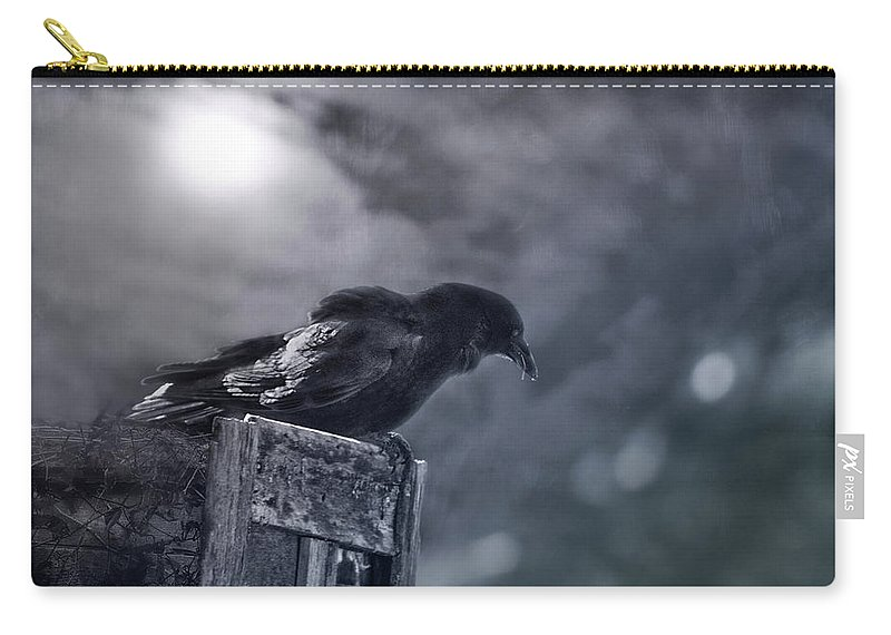 Raven Carry-all Pouch featuring the photograph Raven Twilight by Susan Capuano