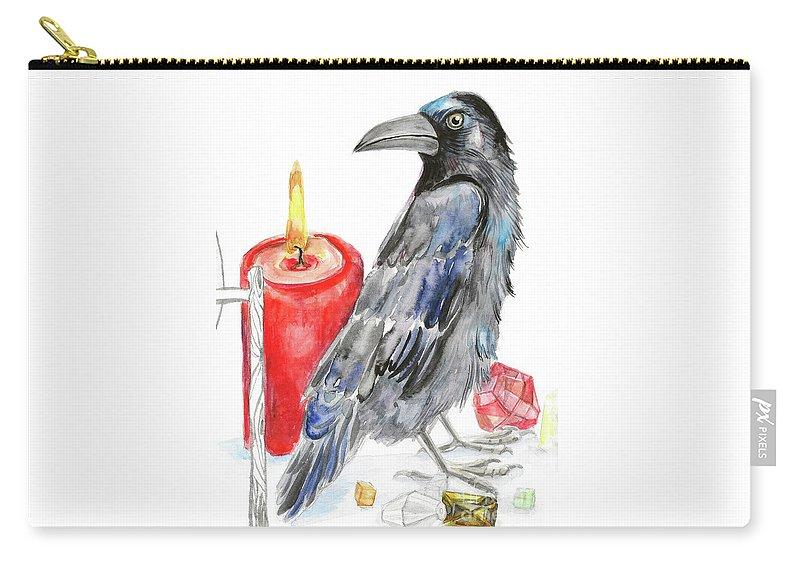 Raven Carry-all Pouch featuring the painting Raven by Yana Sadykova
