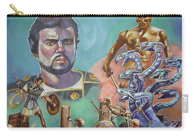 Jason Argonauts Hydra Talos Skeletons Movie Harryhausen Fantasy Sci-fi Carry-all Pouch featuring the painting Ray Harryhausen Tribute Jason And The Argonauts by Bryan Bustard