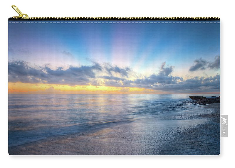 Clouds Carry-all Pouch featuring the photograph Rays Over The Reef by Debra and Dave Vanderlaan