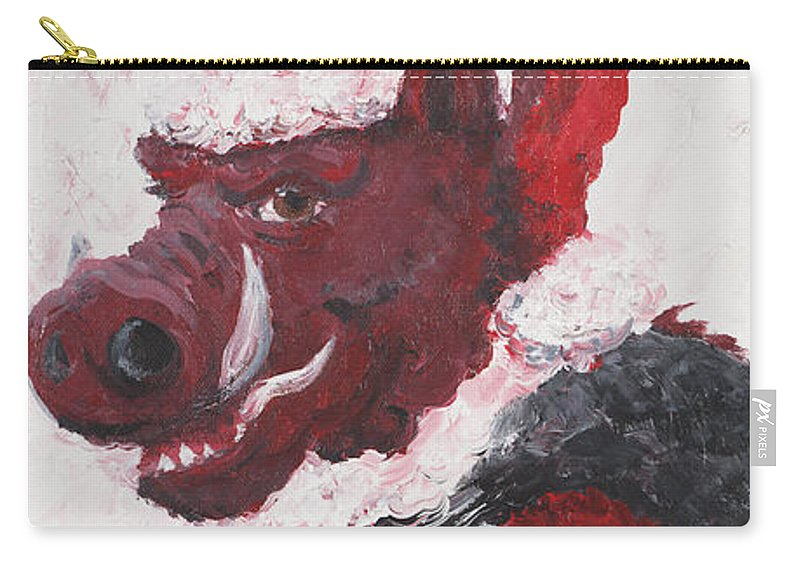 Santa Carry-all Pouch featuring the painting Razorback Santa by Nadine Rippelmeyer