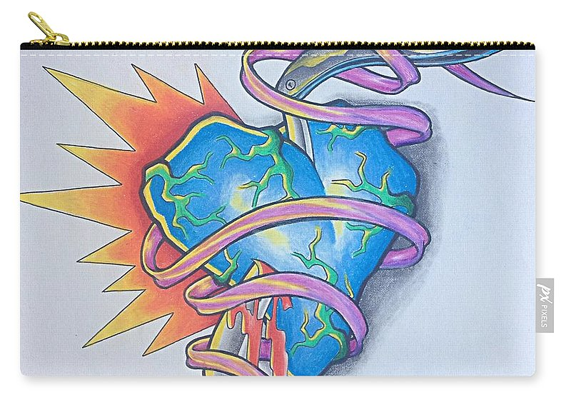 Heart Carry-all Pouch featuring the drawing Razors Edge by Noah Babcock