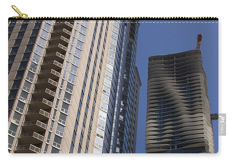 Chicago Wind Windy City Building Sky Skyscraper Blue Tall High Big Large Urban Metro Carry-all Pouch featuring the photograph Reaching High by Andrei Shliakhau