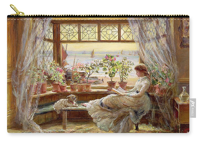 Dog Carry-all Pouch featuring the painting Reading by the Window by Charles James Lewis