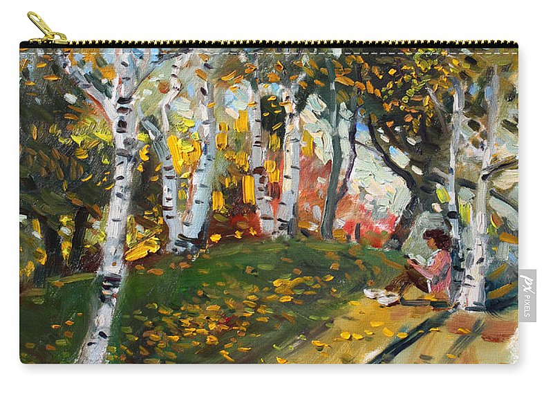 Reading Carry-all Pouch featuring the painting Reading In The Park by Ylli Haruni