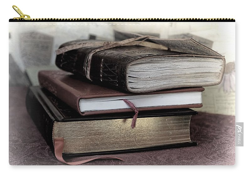 Pamela Walton Carry-all Pouch featuring the mixed media Reading Material by Pamela Walton