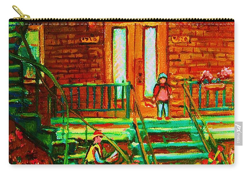 Stairways Carry-all Pouch featuring the painting Reading On The Steps by Carole Spandau