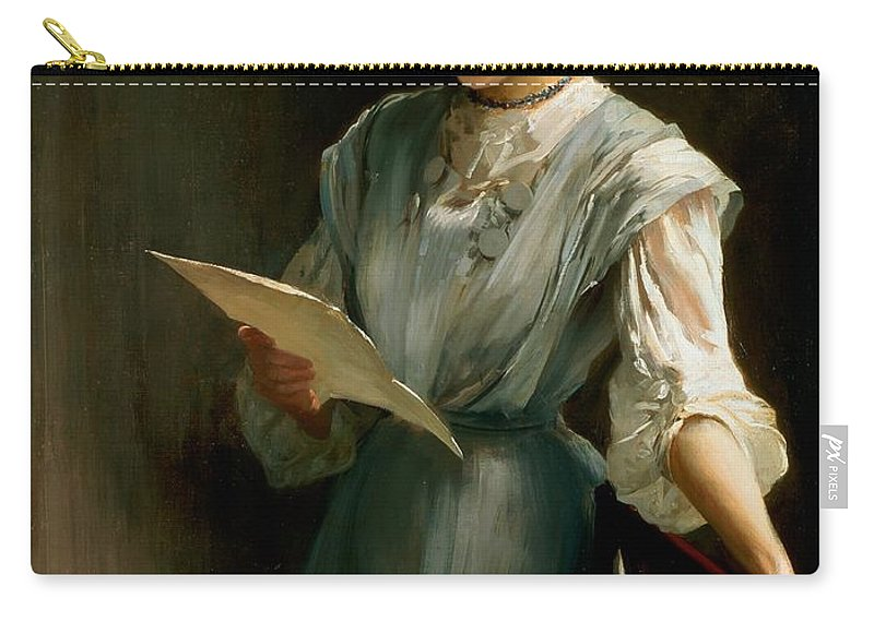 Woman; Love; Portrait; Edwardian Carry-all Pouch featuring the painting Reading The Letter by Thomas Benjamin Kennington
