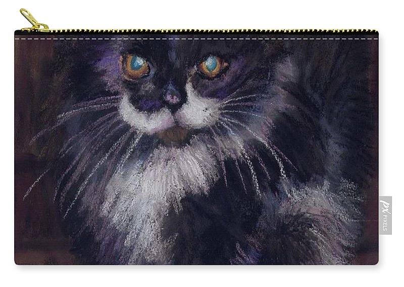 Kitten Carry-all Pouch featuring the painting Ready For Trouble by Sharon E Allen