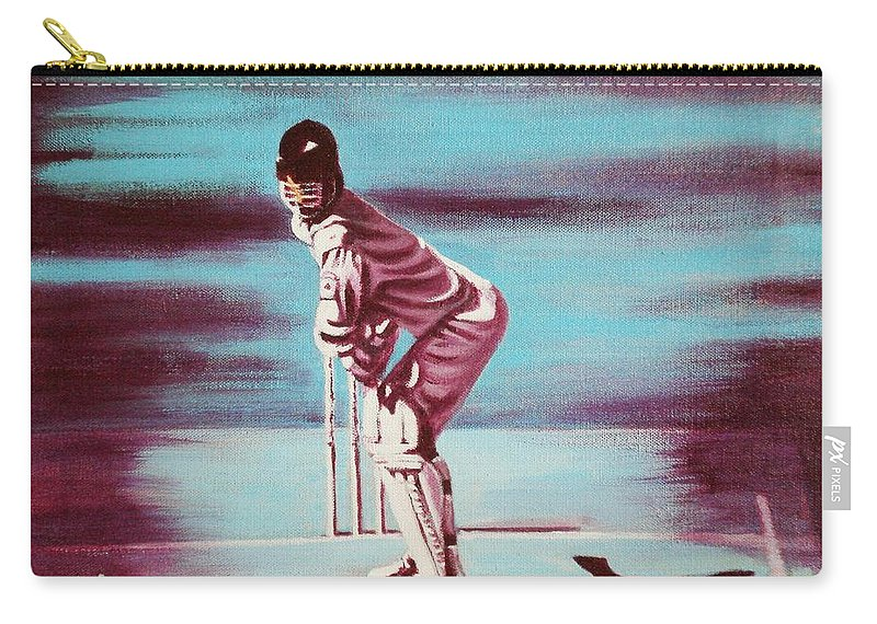 Carry-all Pouch featuring the painting Ready To Bat by Usha Shantharam