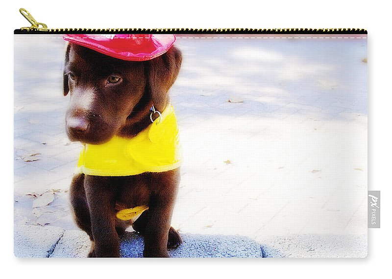 Dog Carry-all Pouch featuring the photograph Fire Pup Ready To Roll by Toni Hopper