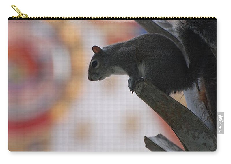 Squirrel Carry-all Pouch featuring the photograph Ready To Jump by Rob Hans