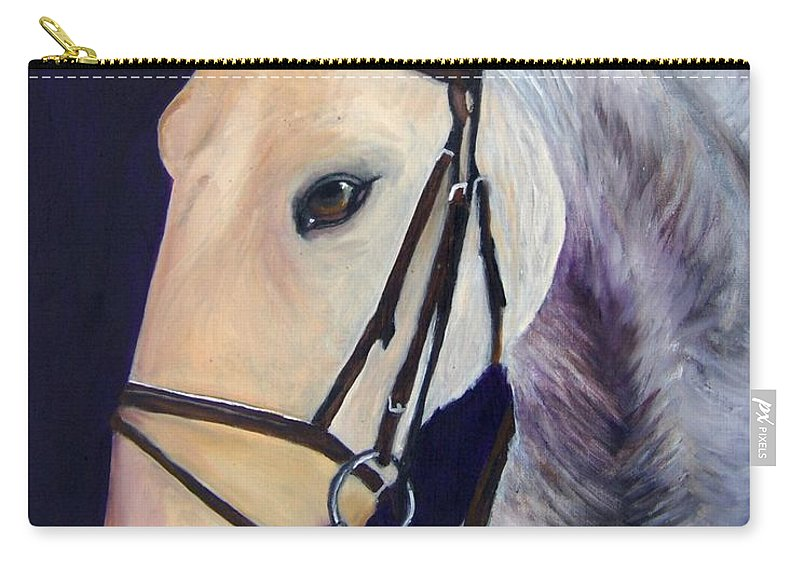 Horse Carry-all Pouch featuring the painting Ready To Ride by Roger Wedegis