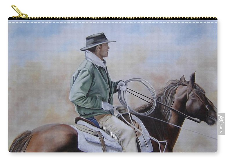 Ranch Carry-all Pouch featuring the painting Ready To Rope by Mary Rogers