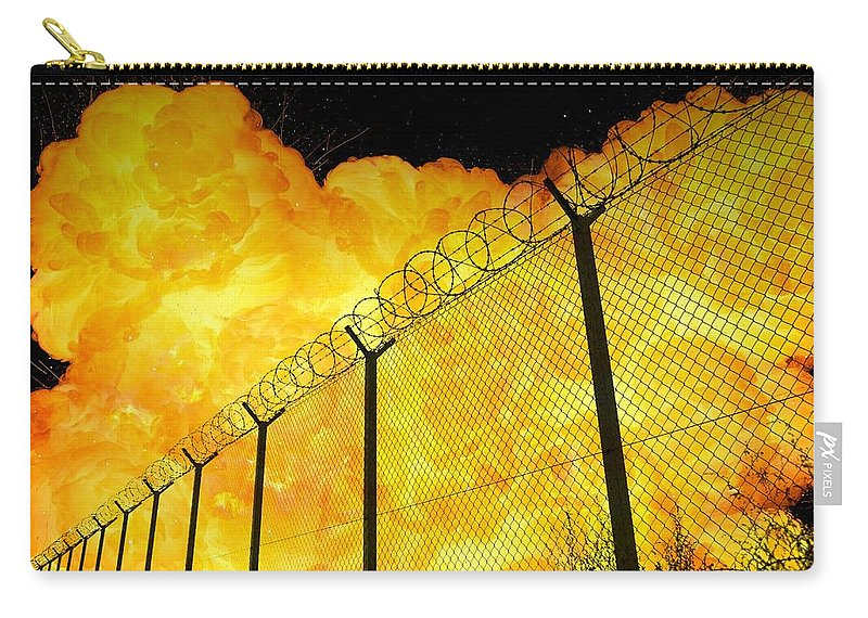 Prison Carry-all Pouch featuring the photograph Realistic Fiery Explosion Behind Restricted Area Barbed Wire Fence by Lukasz Szczepanski