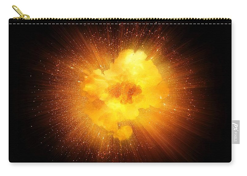 Fire Carry-all Pouch featuring the photograph Realistic Fiery Explosion, Orange Color With Sparks Isolated On Black Background by Lukasz Szczepanski