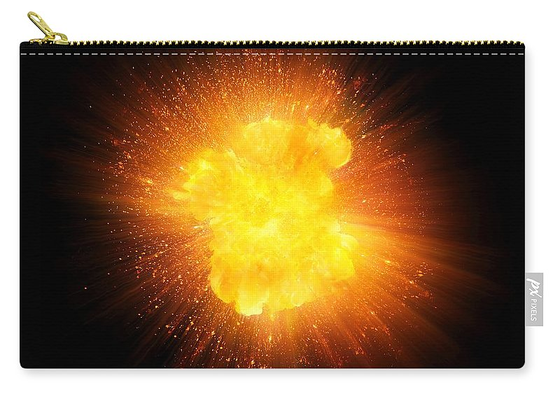 Fire Carry-all Pouch featuring the photograph Realistic Fire Explosion, Orange Color With Sparks Isolated On Black Background by Lukasz Szczepanski