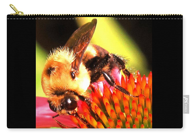 Bee Carry-all Pouch featuring the photograph Really Getting Into It by Ian MacDonald